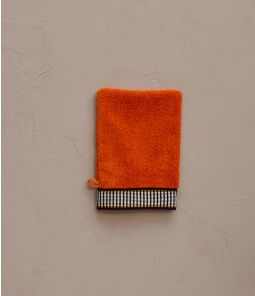 Gant de toilette Singulier orange 15x21 cm