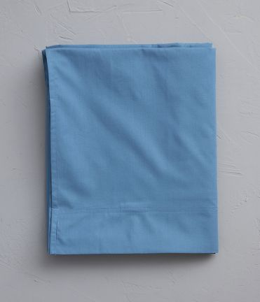 Drap plat percale bleue vague