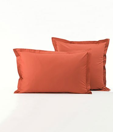 Taie d'oreiller percale orange étincelle